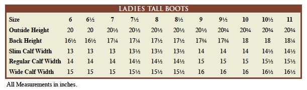 jpc ladies sizing chart